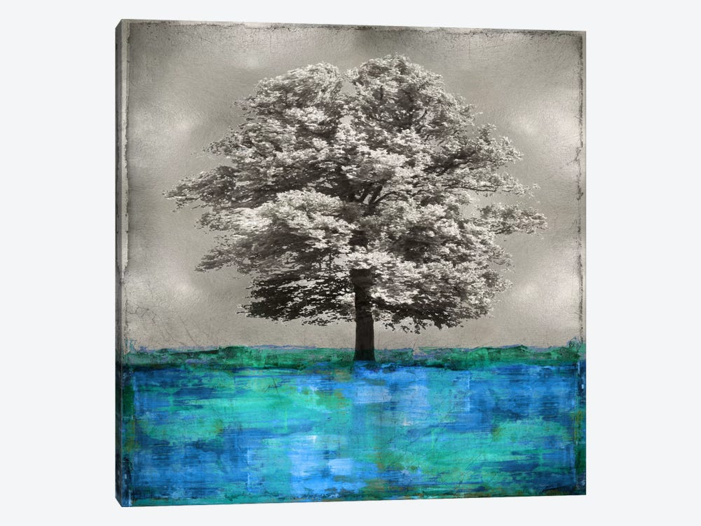 Stately - Blue On Silver by Eric Turner 1-piece Canvas Wall Art