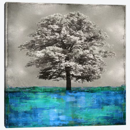 Stately - Blue On Silver Canvas Print #ETU12} by Eric Turner Canvas Art Print