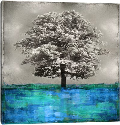Stately - Blue On Silver Canvas Art Print