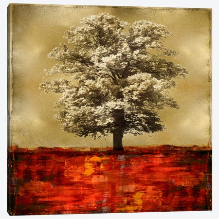 Stately - Red On Gold Canvas Print #ETU14} by Eric Turner Canvas Art