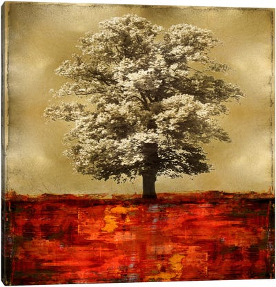 Stately - Red On Gold Canvas Art Print