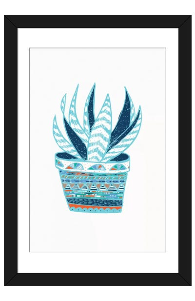 Succulent, Blue Framed Art Print