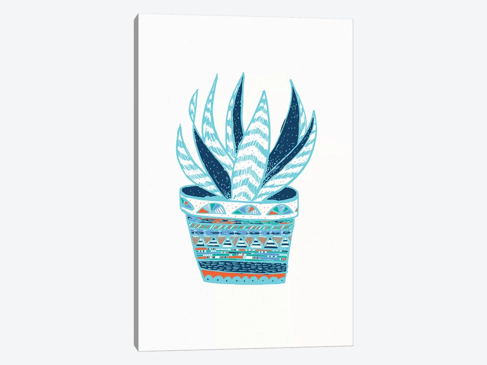 Succulent, Blue 1-piece Canvas Art