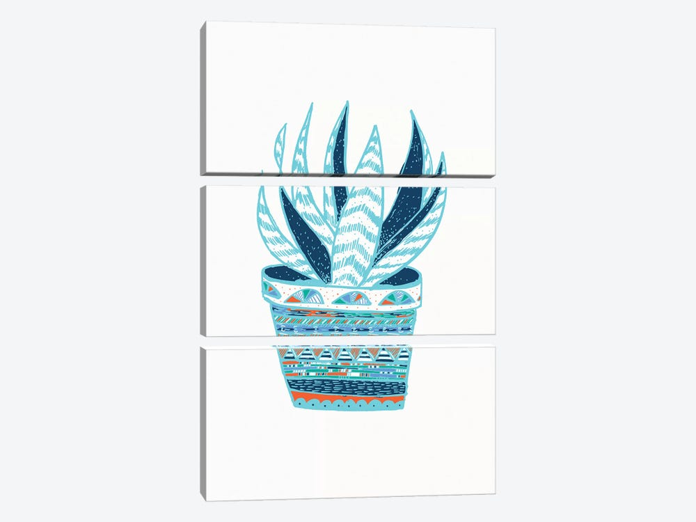 Succulent, Blue 3-piece Canvas Wall Art