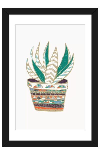 Succulent, Green Framed Art Print