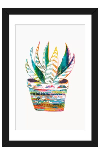 Succulent, Rainbow Framed Art Print
