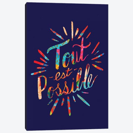 Tout est Possible, Navy Canvas Print #ETV111} by ETTAVEE Canvas Art Print