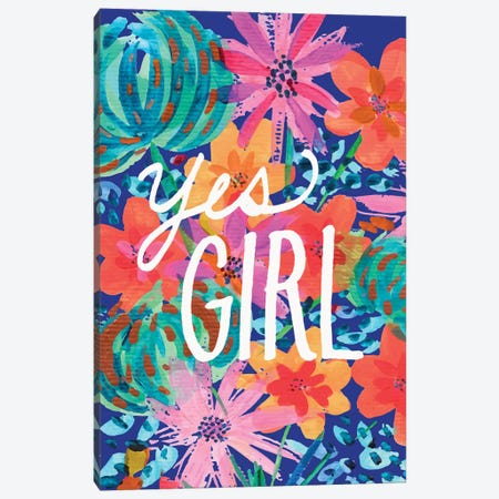 Yes Girl Canvas Print #ETV113} by EttaVee Art Print