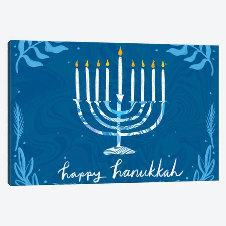 Happy Hanukkah I Canvas Print #ETV131} by ETTAVEE Art Print