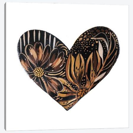 Black Bloom Heart Canvas Print #ETV208} by ETTAVEE Canvas Art Print