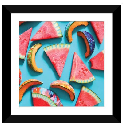 Watermelon & Cantaloupe Slices Framed Art Print