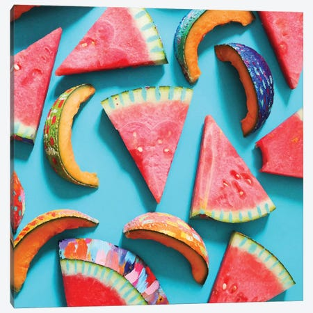 Watermelon & Cantaloupe Slices Canvas Print #ETV73} by ETTAVEE Canvas Artwork