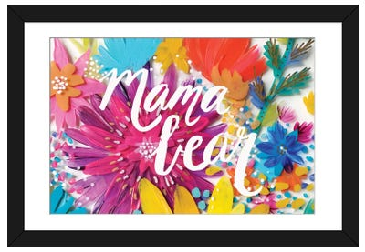 Mama Bear Flowers Framed Art Print