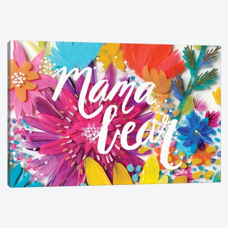 Mama Bear Flowers Canvas Print #ETV93} by ETTAVEE Canvas Art