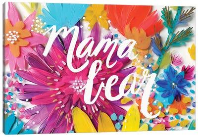 Mama Bear Flowers Canvas Art Print