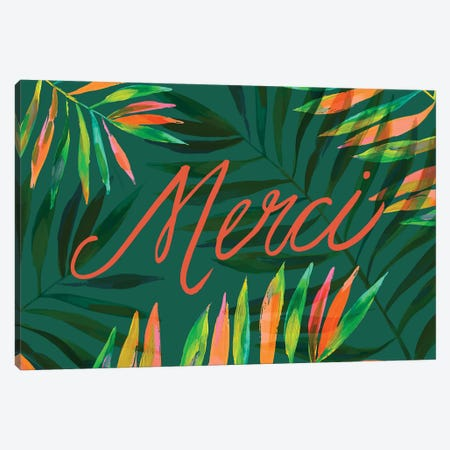 Merci Palms, Green Canvas Print #ETV94} by ETTAVEE Art Print