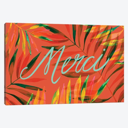 Merci Palms, Orange 3-Piece Canvas #ETV95} by ETTAVEE Canvas Art Print