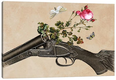 Eugenia Loli - One Gun, One Rose, Two Moths Canvas Art Print