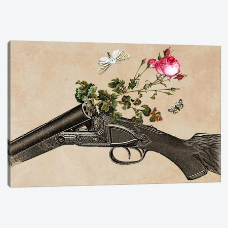 Eugenia Loli - One Gun, One Rose, Two Moths Canvas Print #EUG20} by Eugenia Loli Canvas Art Print