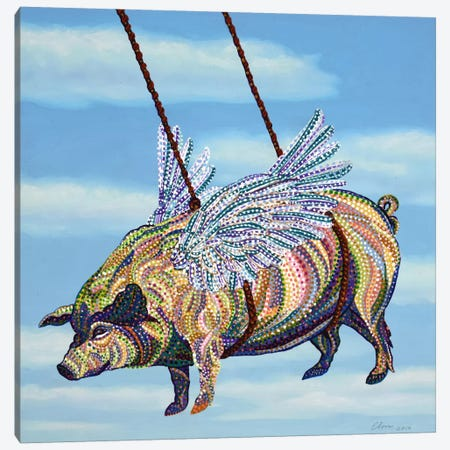 Pig Canvas Print #EVA25} by Ebova Canvas Artwork