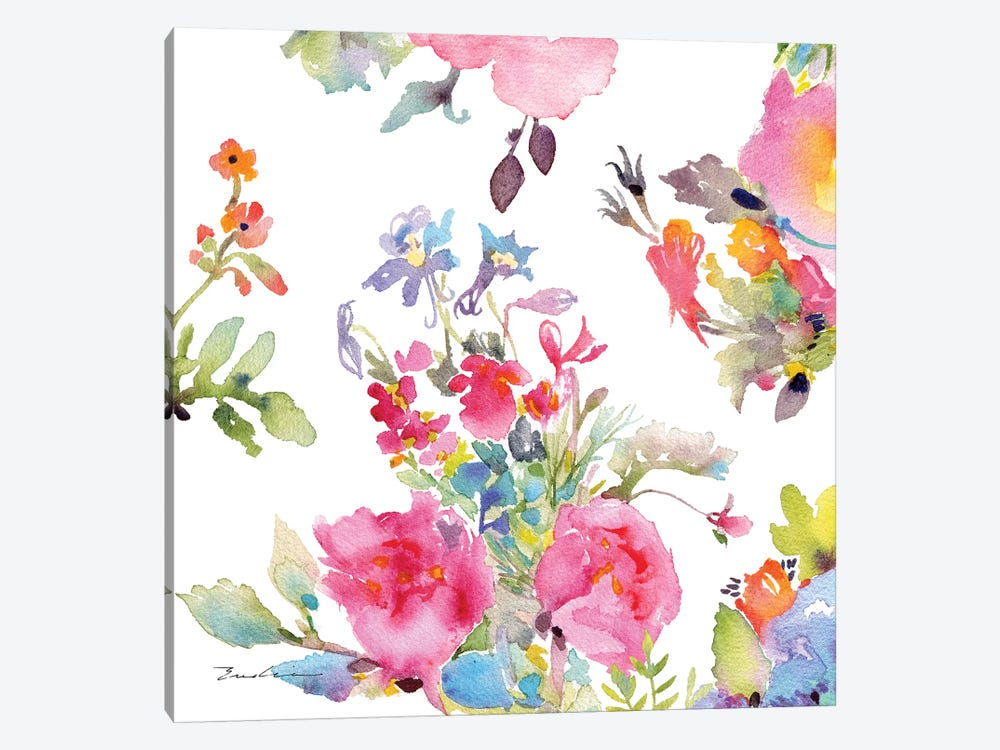 Watercolor Flower Composition I by Evelia Designs 1-piece Canvas Print