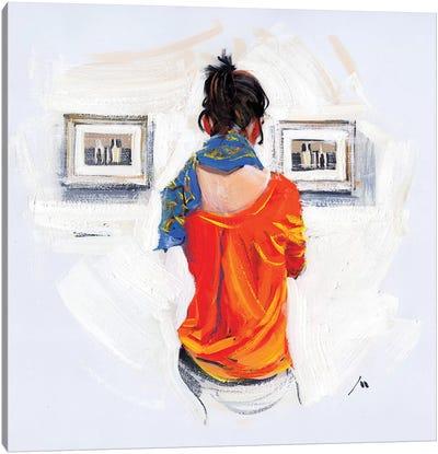 Bright Girl And Monochrome Of Morandi Canvas Art Print