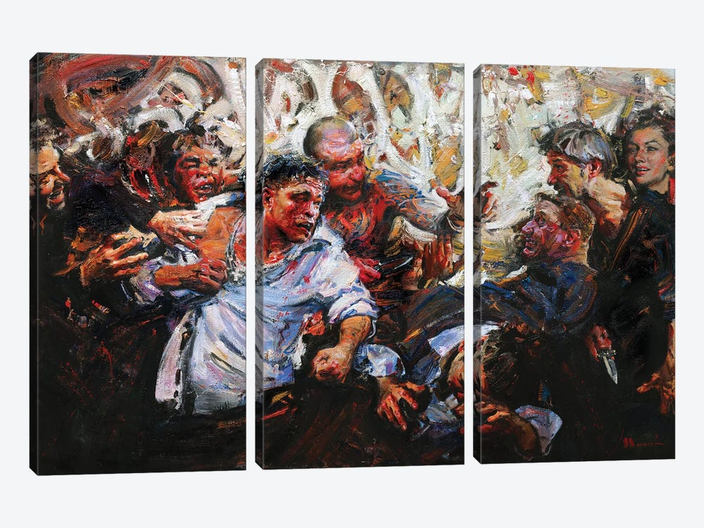 Fighting Without A Cause by Evgeniy Monahov 3-piece Canvas Wall Art