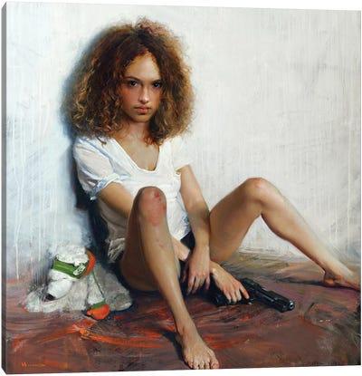 Girl With A Gun Canvas Art Print