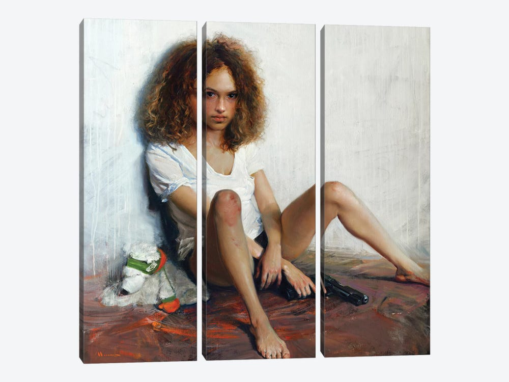 Girl With A Gun by Evgeniy Monahov 3-piece Canvas Print