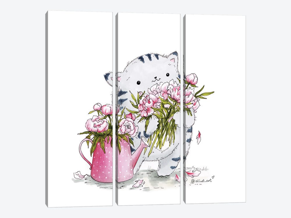 Mr. Pie: Peonies 3-piece Canvas Art Print
