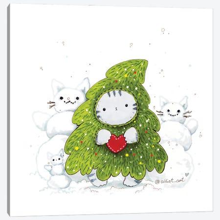 Mr. Pie: Christmas Tre Canvas Print #EVK28} by Evgeniya Kartavaya Art Print