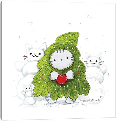 Mr. Pie: Christmas Tre Canvas Art Print