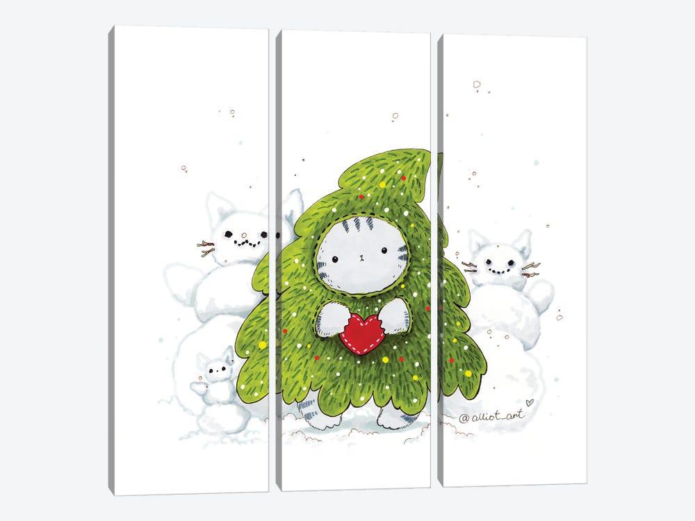 Mr. Pie: Christmas Tre by Evgeniya Kartavaya 3-piece Canvas Print