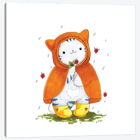 Mr. Pie: Strawberry Rain Canvas Print #EVK39} by Evgeniya Kartavaya Canvas Artwork