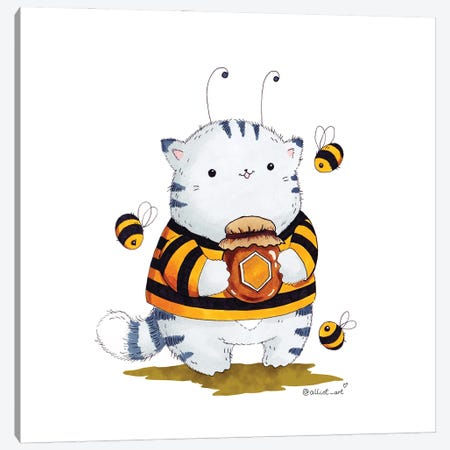Mr. Pie: Bee Canvas Print #EVK42} by Evgeniya Kartavaya Art Print