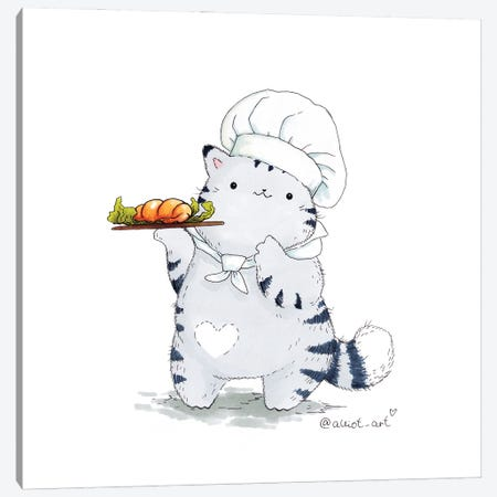 Mr. Pie: Chef Canvas Print #EVK43} by Evgeniya Kartavaya Canvas Art Print