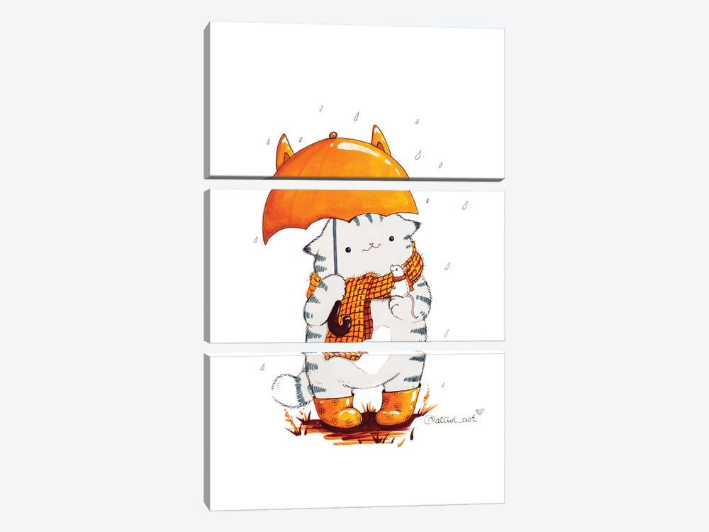 Mr. Pie: Umbrella by Evgeniya Kartavaya 3-piece Canvas Print
