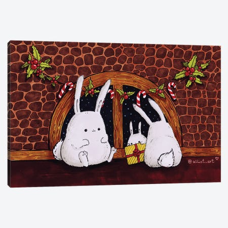Christmas Bunnies Canvas Print #EVK8} by Evgeniya Kartavaya Canvas Artwork