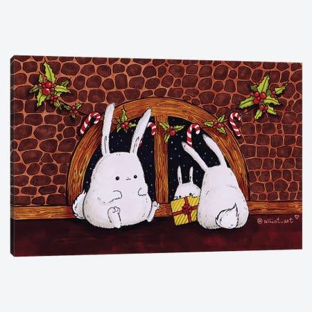 Christmas Bunnies Canvas Print #EVK8} by Evgeniya Kartavaya Canvas Artwork