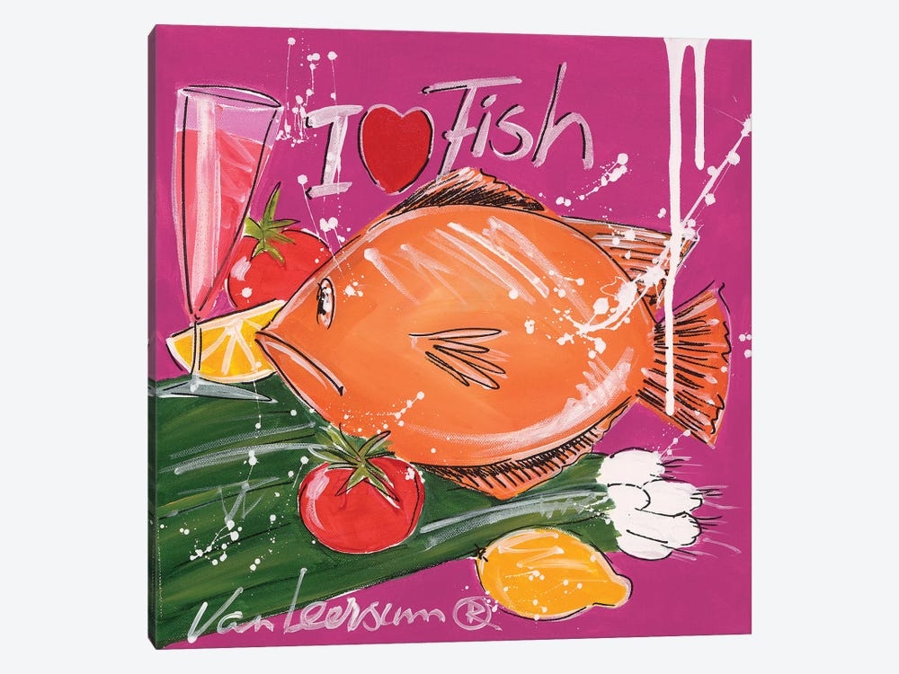 I Love Fish by El van Leersum 1-piece Canvas Wall Art