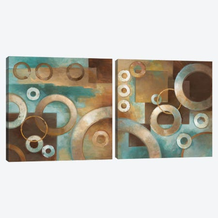 Circular Motion Diptych Canvas Print Set #EVO2HSET001} by Elaine Vollherbst-Lane Canvas Art Print