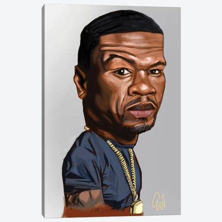 50 Cent Canvas Print #EVW1} by Evan Williams Canvas Print