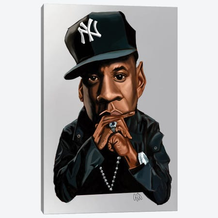 Jay-Z Canvas Print #EVW23} by Evan Williams Art Print