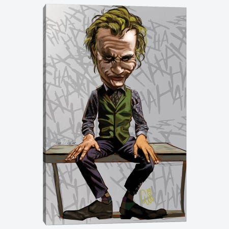 Joker Heath Canvas Print #EVW25} by Evan Williams Canvas Wall Art