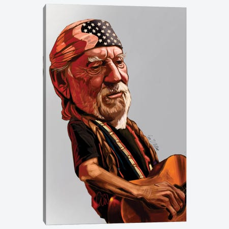 Willie Nelson Canvas Print #EVW52} by Evan Williams Canvas Wall Art