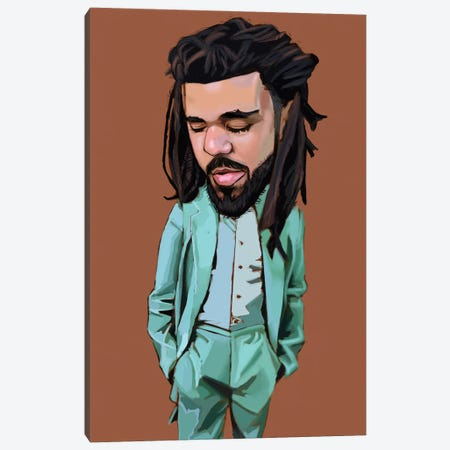 J Cole Canvas Print #EVW63} by Evan Williams Canvas Print