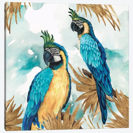 Golden Parrots Canvas Print #EWA102} by Eva Watts Canvas Artwork
