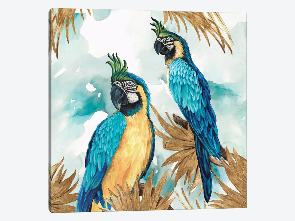 Golden Parrots 1-piece Canvas Wall Art