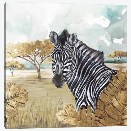 Golden Zebras Canvas Print #EWA103} by Eva Watts Canvas Artwork
