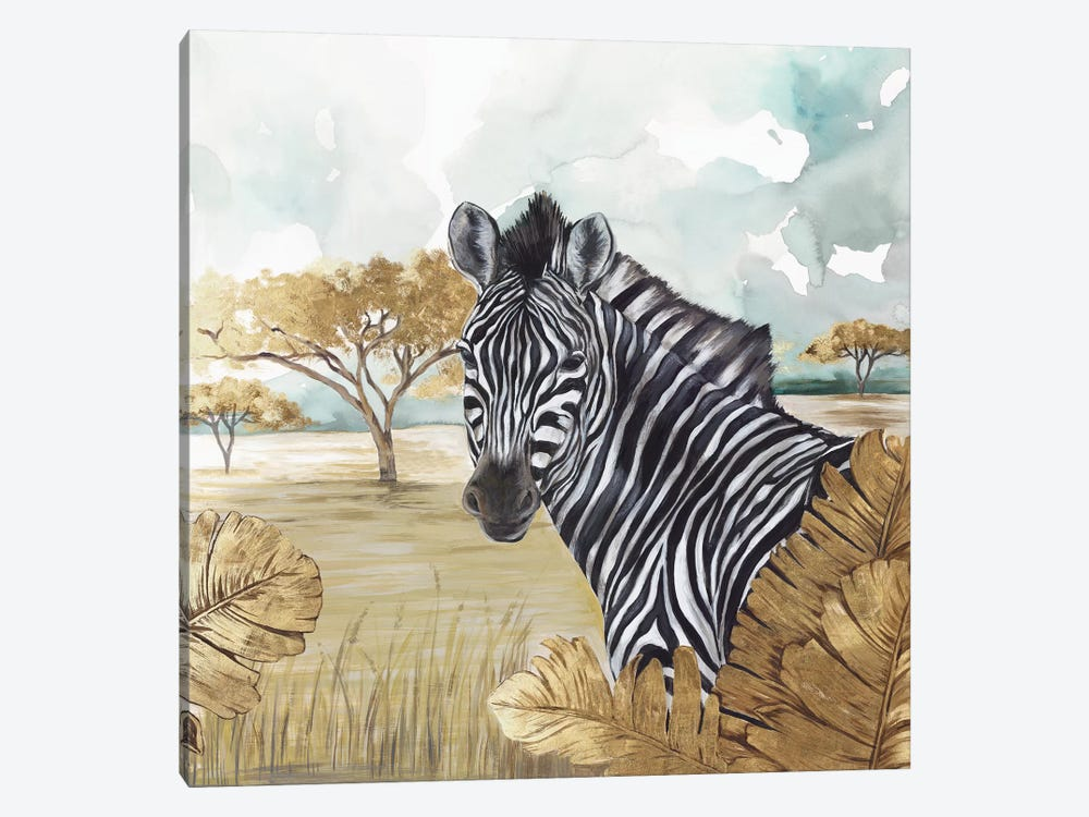 Golden Zebras by Eva Watts 1-piece Canvas Print